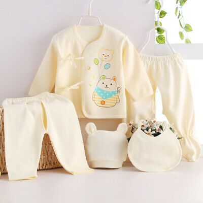 Newborn Infant Baby Outfit 5pcs Set Long Sleeve Footed Pants Cotton Boys Girls