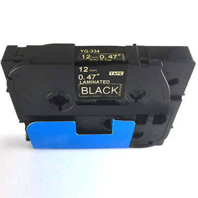 Gold on Black Laminated Tze Tz Label Tape 12mm Compatible for Brother P-Touch #