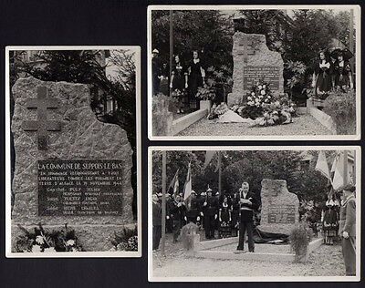 █ 3 CPA Carte Photo SEPPOIS-LE-BAS 68 Monument du Char Haut-Rhin Guerre 39-45 █