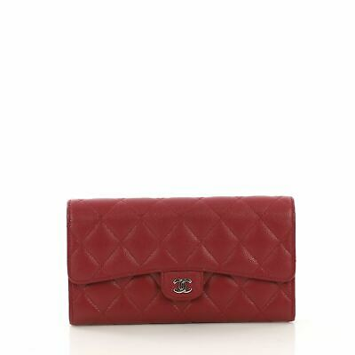 0a0c0cbde0be 100% AUTHENTIC CHANEL Cc Gusset Flap Wallet Quilted Caviar Lambskin ...