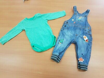 Next Baby boys Set of Green Bodysuit and Jeans Overall Size 9-12 Months