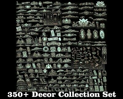 350+ Pcs 3D STL Models Decor Set CNC Router Carving Machine Artcam aspire Cut3D