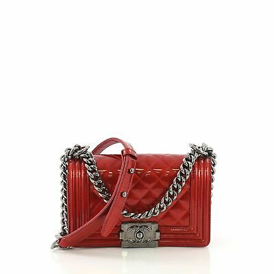 7e48ab52f350 CHANEL METALLIC PINK Quilted Patent Leather Small Boy Bag ...