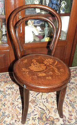 Antique Late XIX Century Child's Bentwood Chair,Dutch girl scene to the seat