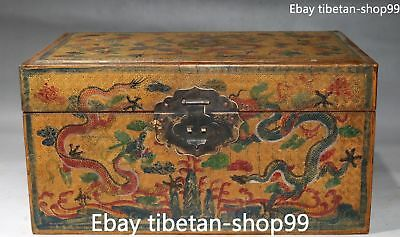 32CM Chinese Wood lacquerware Ancient Double Dragon Chest Box Case Boxes Statue