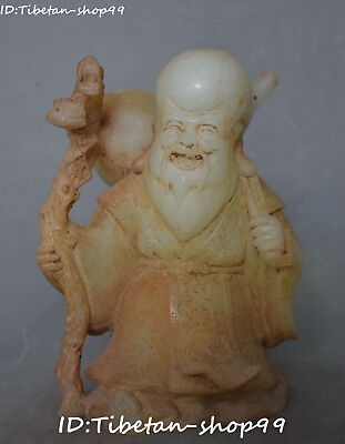 """9"""" China Old Jade Carving Gourd Crutch Shouxing Immortal Longevity God Statue"""