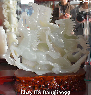 "19"" Chinese Natural White Jade Success Running Three Horse Horses Animal Statue"