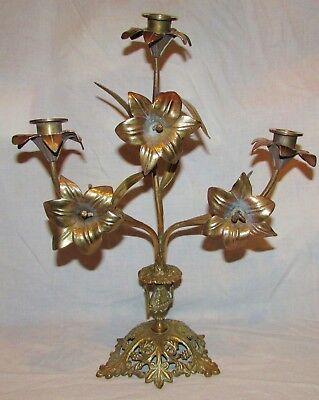 Candelabra Church with Fleurs 3 Fire Candlestick Candle Holders Bronze 19 Th
