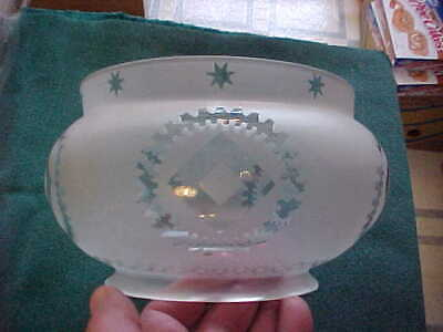 """Antique Victorian Etched Glass 1/2 Crown Bowl Kerosene Gas Lamp Shade 5"""" Fitter"""