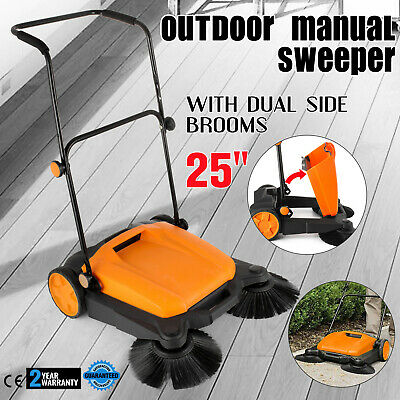 "Manual RT-650S Outdoor Push Sweeper 25""With Brooms 25Inch Width 16L  GOOD"