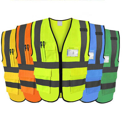 Hi Vis High Viz Visibility Vest Waistcoat Safety With Phone & ID Pockets 1 Piece