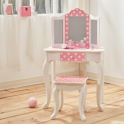 Teamson Kids Childrens Wooden Vanity Unit Set Inc Table  Stool Dressing Mirror