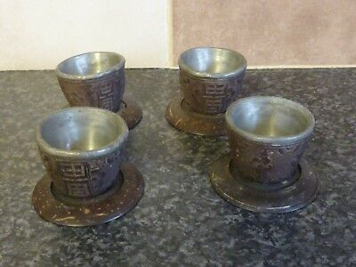Set Of 4 Vintage Oriental Highly Decorated Lead Lined Tea Bowls & Stands Vgc