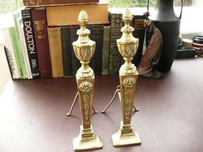 Pair Of Georgian Style Vintage Brass Fire Dogs / Andirons