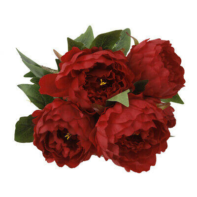 Artificial Simulation 3D Real Touch Silk Peony Flowers 5 Heads with Stem