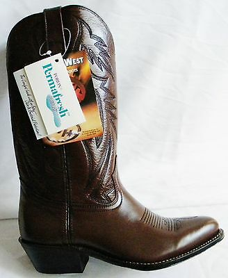 NEW Double-H Brown Leather 7.5 D Cowboy Boot Made in USA OLD STOCK Heritage West