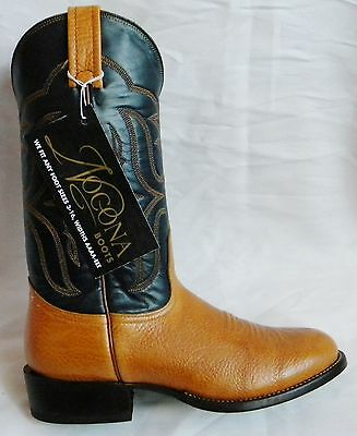 NEW NOCONA Tan Brown BULLHIDE 7 E Black Leather ROPER Made in USA Cowboy Boot