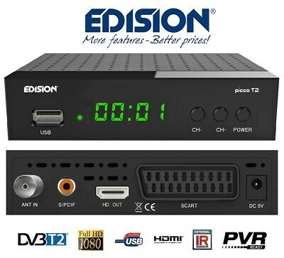 Digitale Terrestre DVB-T2 Free to Air EDISION Picco T2 H.264 FULL HD Decoder
