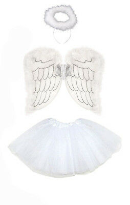 Angel Wings, Halo And Tutu Set Halloween Costume Fancy Dress ( White & Silver )