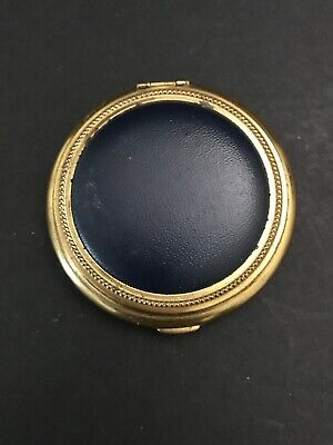 Vintage round Gold tone Navy Blue leather Powder / Blush Compact with Mirror