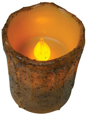 NEW!! Primitive Country Rustic BURNT MUSTARD Battery Oper. Timer Pillar Candle