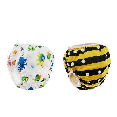 2Pcs Baby Cartton Swim Diapers Reuseable & Adjustable for Swimming Lesson