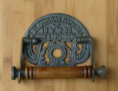 St Pancras Toilet Roll Holder Cast Iron Reproduction Wooden Roller