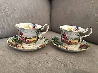 Rare Royal Albert Country Scenes Harvest Song Pair Cup And Saucer England