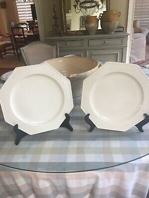 Pair Of Large Vintage French Creamware Chargers Platters