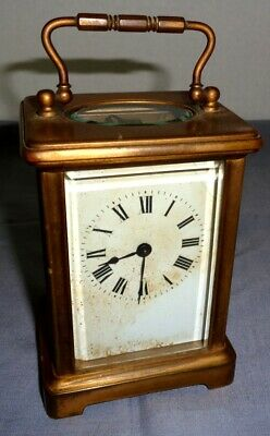 Vintage Solid Brass French Made Carriage Clock With Beveled Glass
