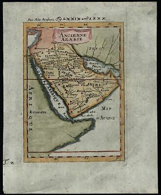 Ancient Arabia peninsula 1719 Mallet hand colored map