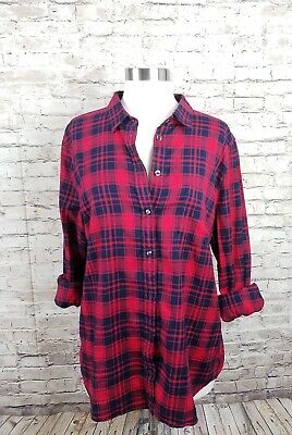 8bad182173e87b J. crew boy fit button down top womens Sz large flannel plaid blue red  hipster