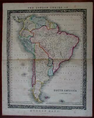 South America c.1860 Betts scarce decorative continent map
