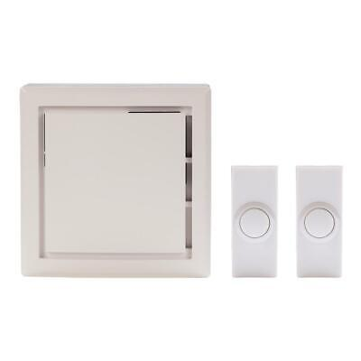 Wireless Plug-In White Door Bell Kit w//Front /& Back Push Buttons 1001406905