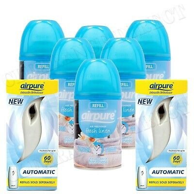 6 X Airpure Freshmatic Spray Refills Fresh Linen 250Ml + 2 Machines Airwick
