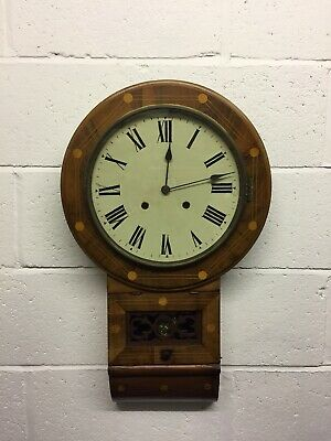 Antique Victorian Mahogany And Beech Inlaid Drop Dial Wall Clock (Non Working)