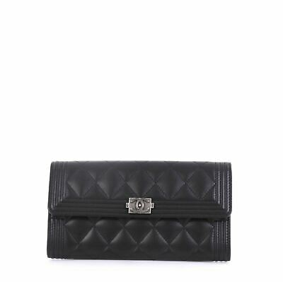 f17b3e07bbe0b8 CHANEL BOY CHANEL Long Gusset Flap Wallet Quilted Lambskin & Gold ...