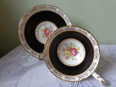 Royal Stafford Bone China Black Banded/Heavy Gold Rose Floral Wide Cup & Saucer