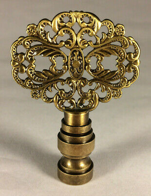 """New 2 3/8"""" Solid Brass Die Cast Rosette Lamp Harp Finial, Antique Finish #LF129A"""