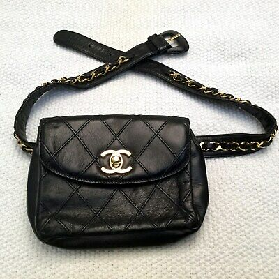 e102826b5888 CHANEL Black Leather Gold Chain CC Logo Turnlock Belt Bag Waist Fanny Pack  75/30