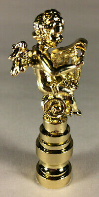 """New 2 1/2"""" Brass Cherub Angel Playing Harp Lamp Harp Finial Polished & Lacquered"""