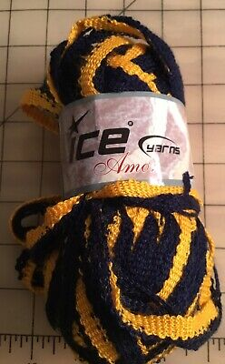 ICE YARN SKEIN Yellow Disco Pom Poms Wooden Beads Bamboo Cotton