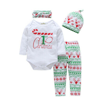 Christmas Set Baby Infant Casual Sleeve Jumpsuit Kids Romper Party Year 4pcs