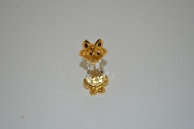 Clear Cut Crystal & Gold Tone Cast Metal Seated Fox with Black Enamel Highlights