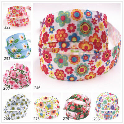 1-10Y 1/'/' 25MM Butterfly Printed Grosgrain Flower Fairy Ribbon Hair Bow Sewing