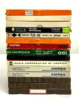 """Lot Of 15 Ampex Reel To Reel Tapes Prerecorded 7"""" x 1/4"""" 4 Track Used"""