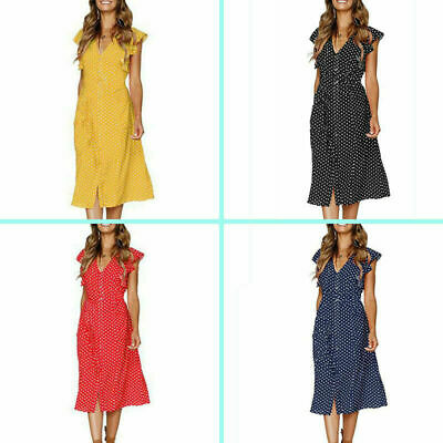 Pretty Ladies Women Summer Beach Sleeveless Dot Maxi Dress Holiday Long Sundress