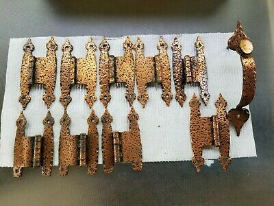 9 Antique Butterfly Hinge Copper Leopard Hammered Colonial Spade one handle