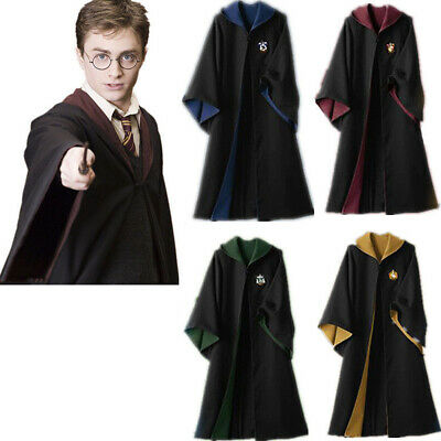 Adult Kids Harry Potter Robe Hogwarts Gryffindor Slytherin Cosplay Costume Cape