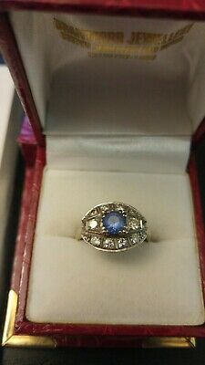 Antique 18k Solid White Gold Art Deco Diamond and Sapphire Engagement Ring 7.25